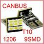Kit 10 Lâmpada T10 W5w Pingo C/ 9 Led Branca Canceller