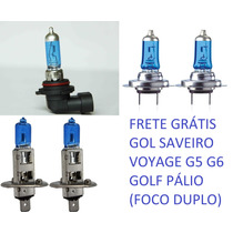 Lâmpadas Farol Baixo Alto Milha Gol G5 G6 Golf Super Brancas