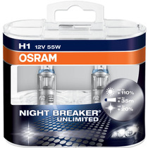 Par Lampada Osram Night Breaker Unlimited H1 +110% Luz