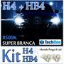 Kit Lâmpada Super Branca 2 H4+2 Hb4 55w 8500k Ecosport + Led