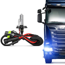 Lâmpada Xênon Reposição Caminhão 24v H4 2 8000k Azulada