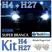 Kit Par Lâmpadas Super Branca H4+ H27 Prisma 2013 À 2015