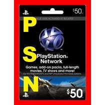 Cartão Psn $50 Playstation Network Card $50 - Envio E-mail