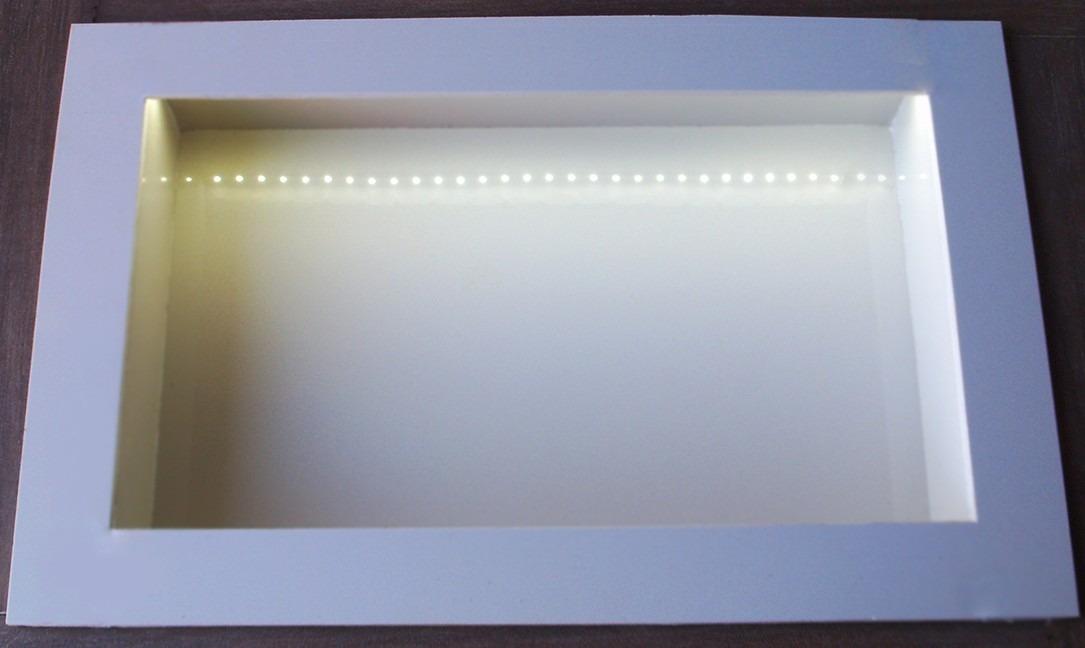 Nicho Iluminado Com Leds  Em Porcelanato Para Banheiro  R$ 260,00 no Mercad -> Nicho Banheiro Led