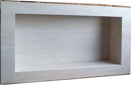 Nicho Para Banheiro Porcelanato Travertino Branco  Promoção  R$ 149,00 no M -> Nicho Banheiro Box Medidas