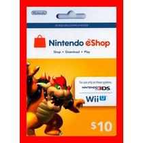 Card Nintendo 3ds Wii U Eshop Cash Card $10 Envio Imediato