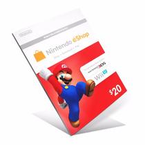 Cartão Nintendo 3ds Wii U Eshop Cash Card $20 Envio Viaemail