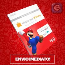 Cartão Nintendo 3ds - Wii U Eshop Cash Card $50 - Imbatível!