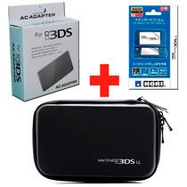 Capa Hard Case 3dsxl + Kit Películas Protetoras + Carregador