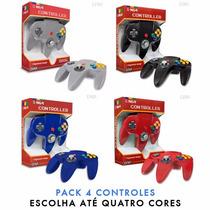 Kit 4 Controles Nintendo 64 - Varias Cores
