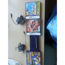 Nintendo Ds Lite Azul+3 Jogos+ 2 Carregadores