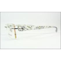 Armação Oculos Grau Sem Aro Grafite Decorada Titanium - A590