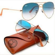 Óculos De Sol Rayban Aviador Azul Degrade Original
