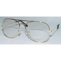 Armação Para Óculos De Grau Aviador Dourado Vintage Retro