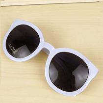 Óculos De Sol Branco - Gatinho Seta Grande Redondo Vintage