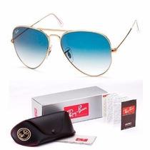 Óculos Rb Aviador Dourado E Lente Azul Degradê Outras Cores