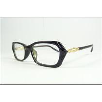 Armação Oculos De Grau Chique Preta Dourada Fantastica A598