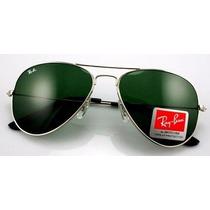 Óculos Ray Ban Aviador Original Lente Verde Armação Prata