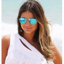 Oculos Rayban Aviador Azul Espelhado Masculino Feminino