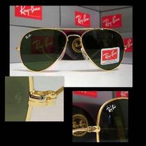 Óculos Aviador 3025 Dourado Lentes Verdes Frete Gratis.