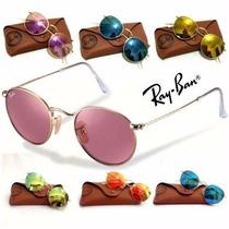 Óculos Ray Ban 3447 Round Metal Espelhado Redondo Original