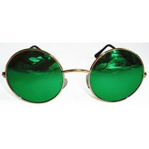 Oculos Estilo Redondo John Lennon Dourado Lente Verde Espelh
