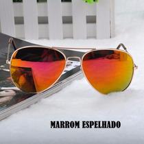 Óculos De Sol Aviador Marrom Espelhado Unissex-pronta Entreg