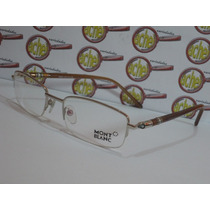 Armação Oculos Grau Mont Blanc Mb91 Silver Tortoise Meio Aro