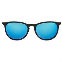 Óculos Ray Ban Erika Unissex Preto Lentes Espelhadas Azul