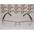 Armação Oculos De Grau Cartier Acetato Preto Meio Aro Prata