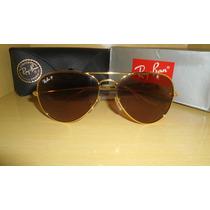 Óculos Ray Ban 3025 Polarizado Dourado Com Lentes Marrons