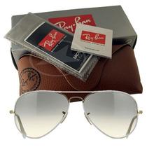 Óculos Ray Ban Aviador Branco Lente Esverdiada 100% Original