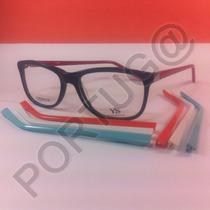 Armação Preta + 4 Pares Hastes Colorida Óculos Lente De Grau