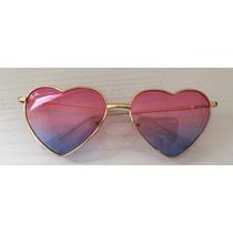 Coração Lolita Dourado Com Lente Rosa Degrade Azul
