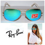 Oculos De Sol 3025 Dourado Lentes Azul Esverdeado Espelhado