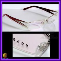Óculos De Grau, Armação, Aro Prata Haste Vermelho Pr517hv