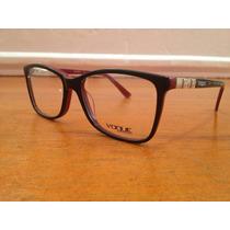 Armação De Óculos Vogue Acetato Preto C/ Vermelho