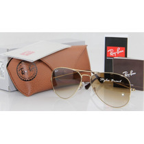 Ray Ban Aviador Lentes Cristal Marrom Degradê + Case Marron