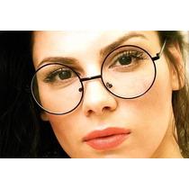Armação Óculos Redondo Retrô Preto Estilo John Lennon