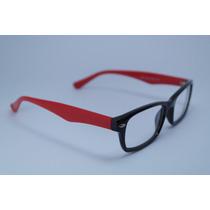 Armação Óculos Grau Preto Vermelho Em Acetato 9603 C65 Mj