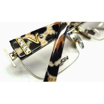 Armação Oculos Feminina Vo3700 Strass + Case Flanela