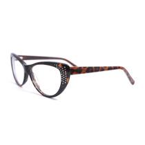 Armação Óculos Grau Gatinha Oncinha Leopardo Marrom 8008 Mj