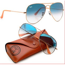 Ray Ban Aviador Lentes De Cristal Azul Degradê + Case Marrom