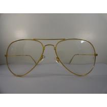 Armaçao De Oculos De Lente De Grau Modelo Aviador Dourado