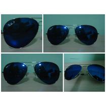 Óculos Aviador 3025 Prata Azul Anil Espelhado Policarbonato