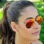 Óculos Aviator 3025 Dourado Vermelho Espelhado Original