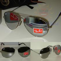 Óculos De Sol Aviador Rb3025 Prata Espelhado, Lentes Escuras
