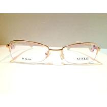 Armação De Óculos Vogue Meio Aro Dourado-marrom-branco