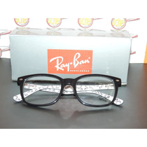Armação Oculos Grau Rb5285 Wayfarer Preto E Branco Ray-ban