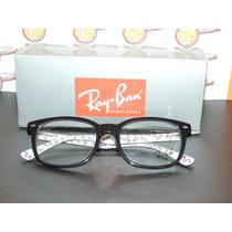 Armação Oculos Grau Rb5285 Wayfarer Preto Branco Logo Rayban